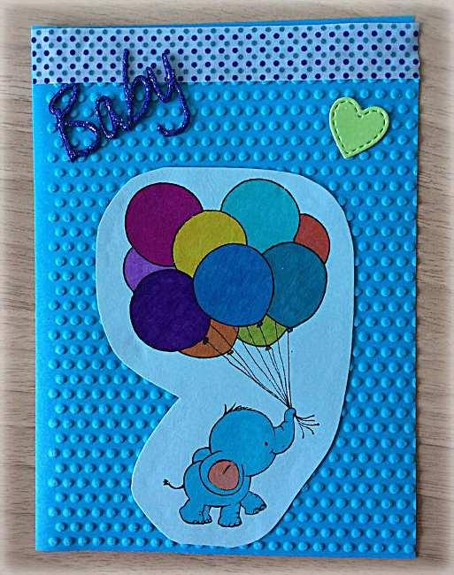 Bigliettino di Nascita Bimbo Elefantino con palloncini