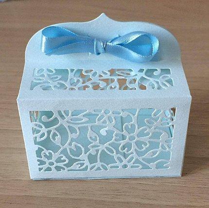bomboniera portaconfetti battesimo azzurra con fiocco - bomboniere d autore